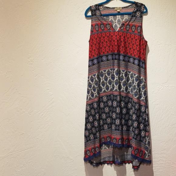 One world maxi dress 1x plus size boho hippy